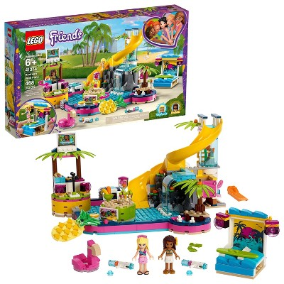 LEGO Friends Andrea's Pool Party Toy Pool Building Set with Mini Dolls for Pretend Play 41374