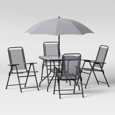 6pc Folding Patio Dining Set - Gray - Room Essentials™
