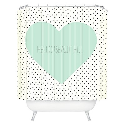 Hello Beautiful Heart Shower Curtain Polka Dots Mint Green - Deny Designs