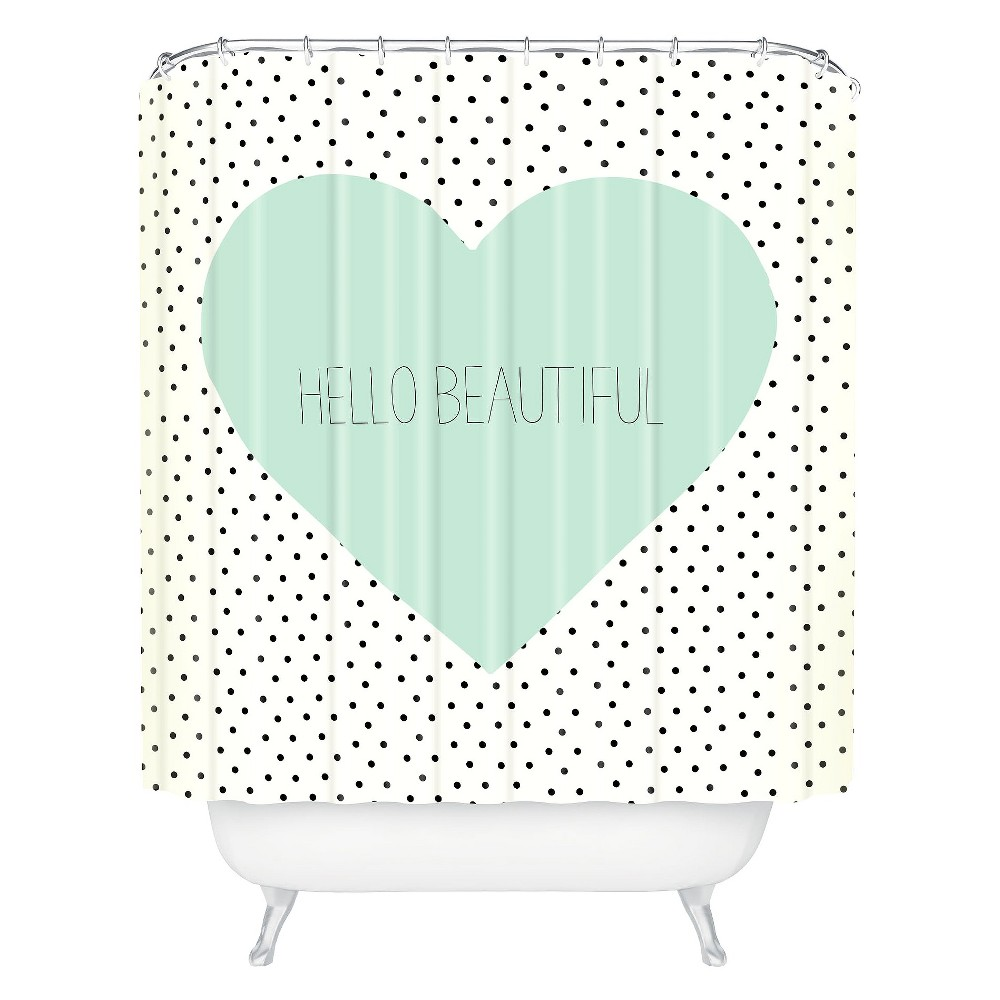 Hello Beautiful Heart Shower Curtain Polka Dots Mint Green - Deny Designs
