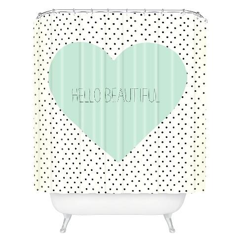 Hello Beautiful Heart Shower Curtain Polka Dots Mint Green