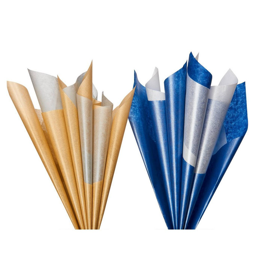 Image of 16 Sheet Papyrus Gold And Silver Tissue Paper Bundle Blue And White, White Blue Silver