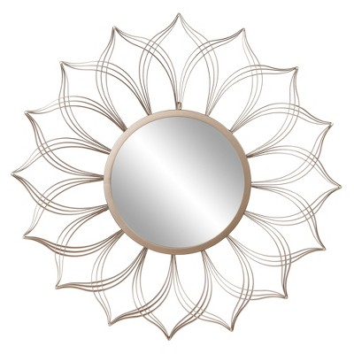 """36"""" Round Flower Petal Wall Accent Mirror Champagne - Patton Wall Decor"""