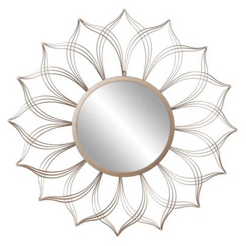 36 Round Flower Petal Wall Accent Mirror Champagne Patton Wall Decor Target