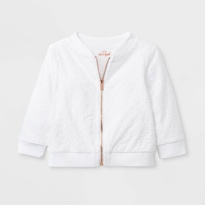 Baby Girls' Eyelet Bomber Jacket - Cat & Jack™ White 12M