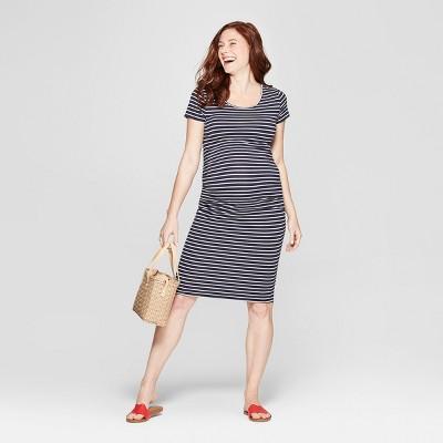 Maternity Striped Short Sleeve Shirred T-Shirt Dress - Isabel Maternity by Ingrid & Isabel™ Navy XXL