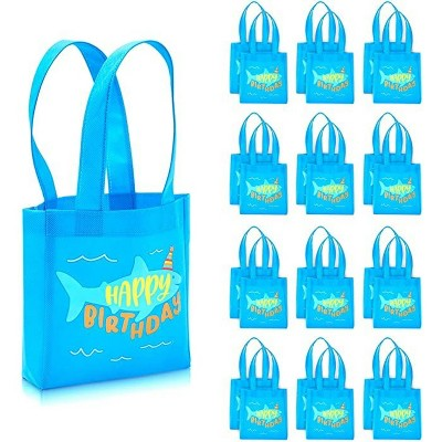 """Blue Panda 24-Pack Shark """"Happy Birthday"""" Party Favors Tote Bags Small Gift Bags (Blue, 6.5 x 7 x 1.77 In)"""