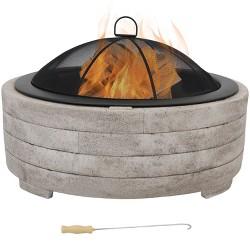 """Faux Stone 35"""" Wood Burning Fire Pit Bowl - Round - Sunnydaze Decor"""