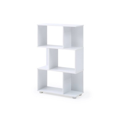 "38.39"" 3 Shelf Manor Modern Staggered Bookshelf White - AC Pacific"