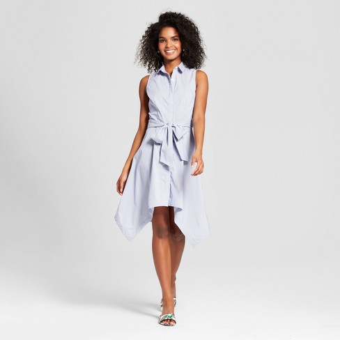 Women S Sleeveless Asymmetric Hem Shirt Dress Who What Wear