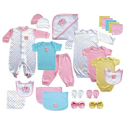 Luvable Friends Baby Girls' 24-Piece Deluxe Gift Set Elephant - Pink 0-6M