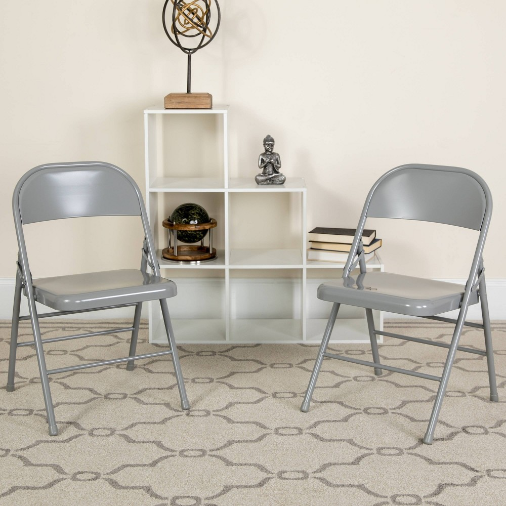 Riverstone Furniture Collection Metal Folding Chair Gray