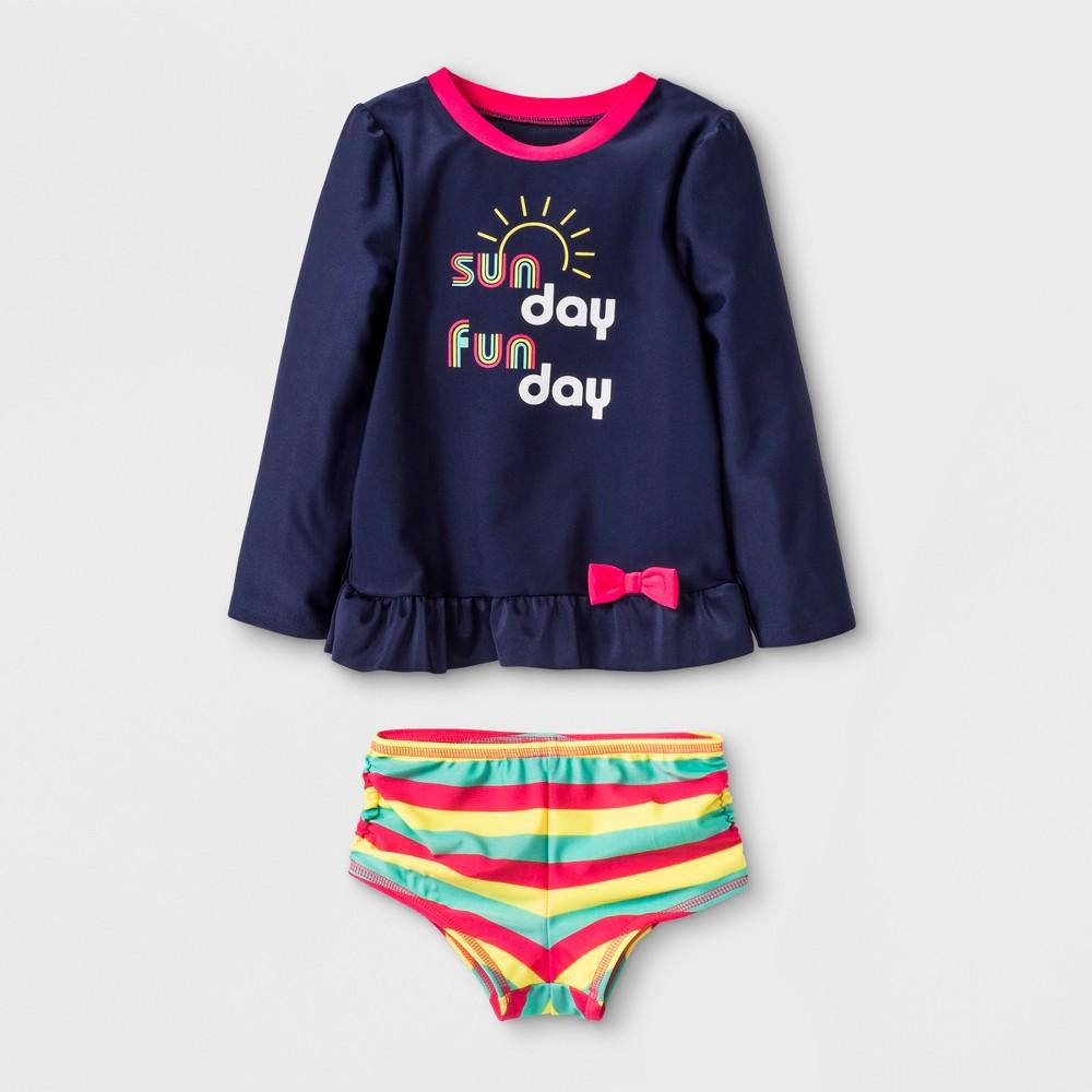 Toddler Girls' Sun Day Fun Day Rash Guard Swimsuit - Cat & Jack Navy 2T, Blue