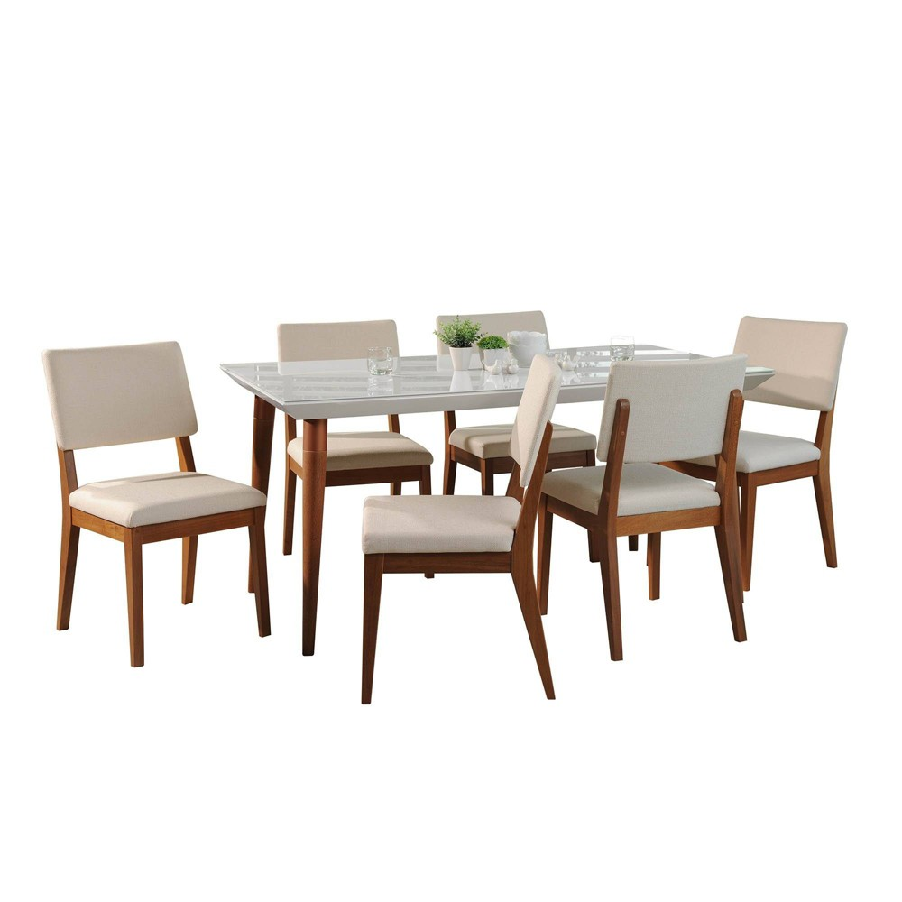 70.86 7pc Utopia and Dover Dining Set Gloss White/Beige - Manhattan Comfort
