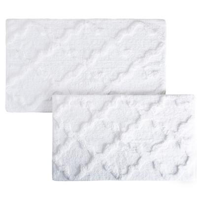 Trellis Bath Mat Set 2pc White - Yorkshire Home