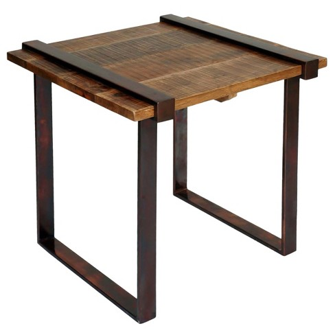 Strap Iron Side Table with Coarse Rough Cut Solid Mango Wood - Dark Bronze Powder Coat - Stylecraft - image 1 of 1
