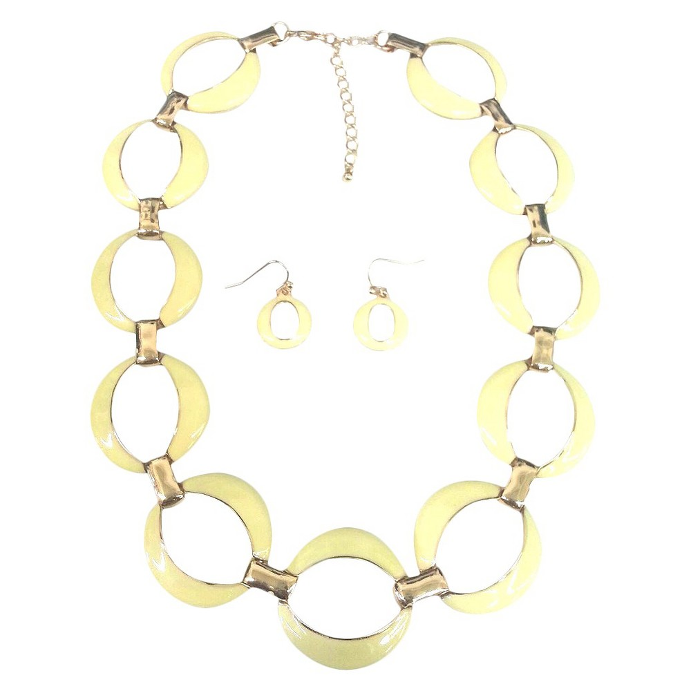 Image of Large Ovals Enamel and Gold Link Electroplated Earrings and Necklaces Set - Yellow, Women's, Gold/Yellow