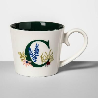 16oz Stoneware Monogram Mug Cream C - Opalhouse™