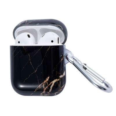 Insten Marble Protective Airpods Case Smooth Cover with Portable Keychain Compatible with Apple Airpods 2nd & 1st Generation, Black