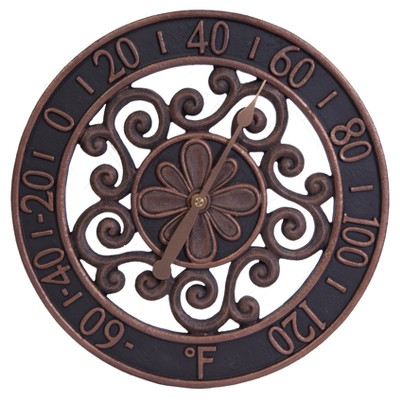 12  Resin Outdoor / Indoor Thermometer - Floral Scrollwork Design with Copper Finish - Acurite