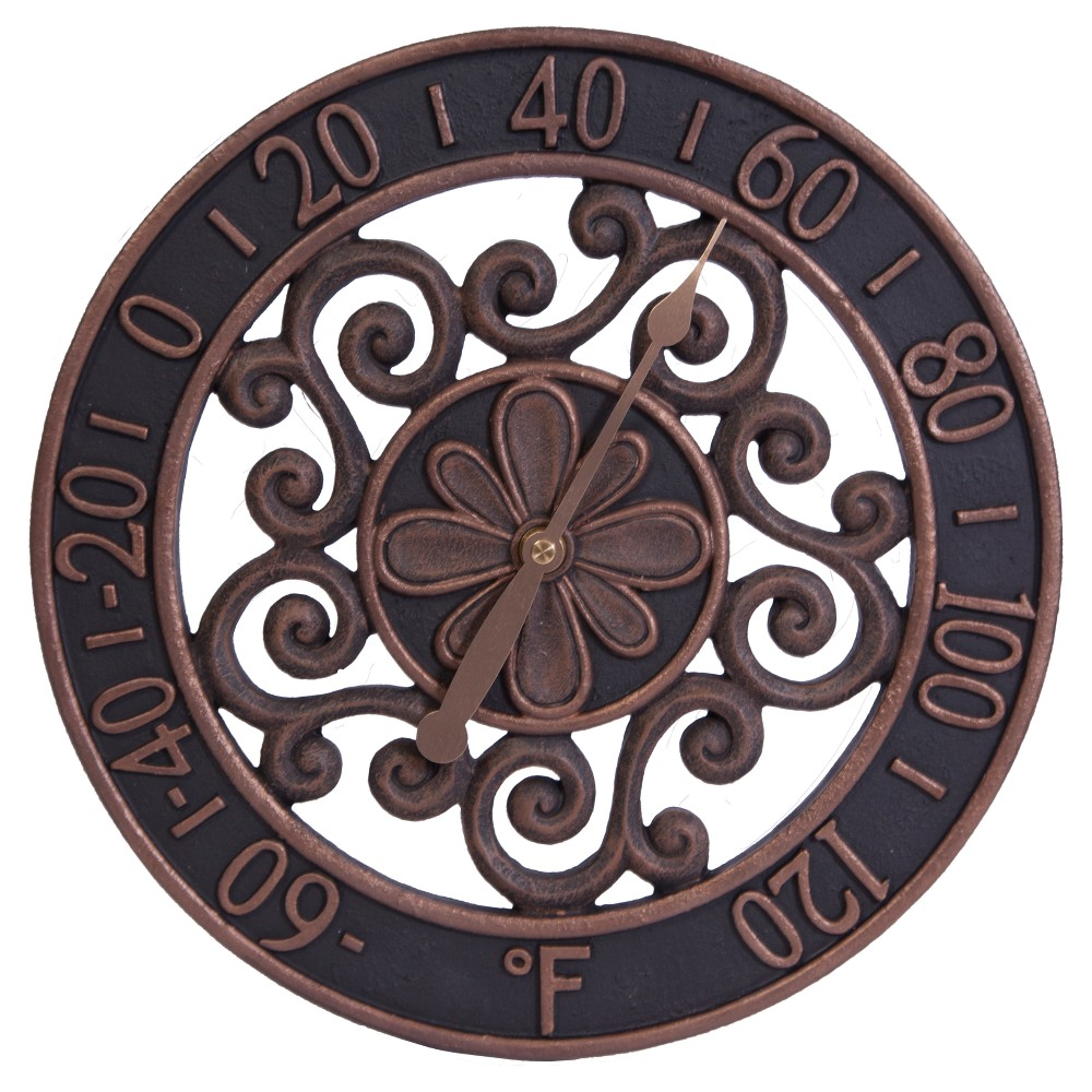 Image of 12 Resin Outdoor / Indoor Thermometer - Floral Scrollwork Design with Copper Finish - Acurite, Brown