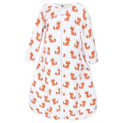 Hudson Baby Infant Boy Long Sleeve Muslin Sleeping Bag, Wearable Blanket, Sleep Sack, Foxes