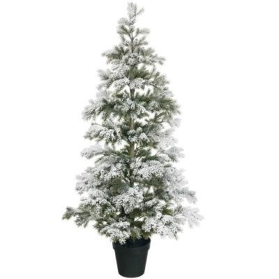 "Sullivans Artificial 4'10""H Pine Flocked Tree 58""H Green"