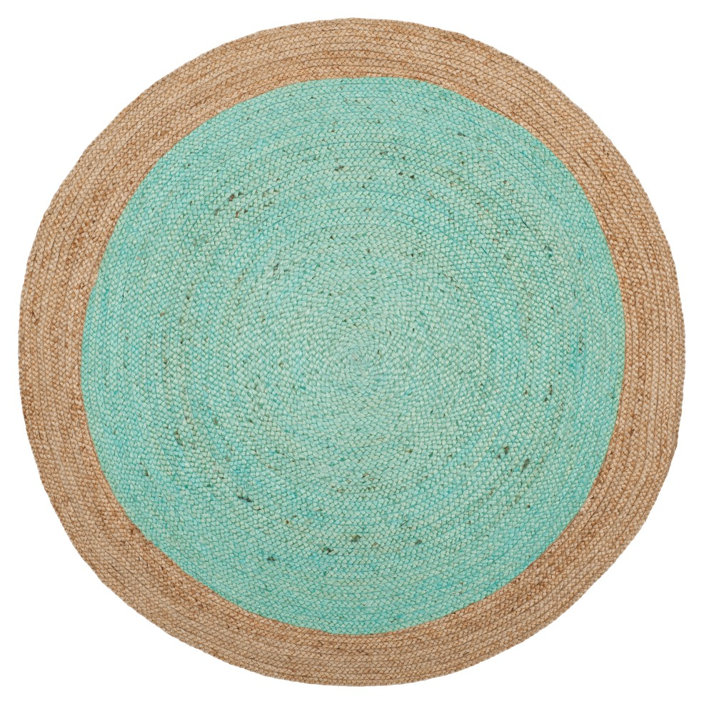 Aqua/Natural (Blue/Natural) Solid Woven Round Area Rug 6' - Safavieh