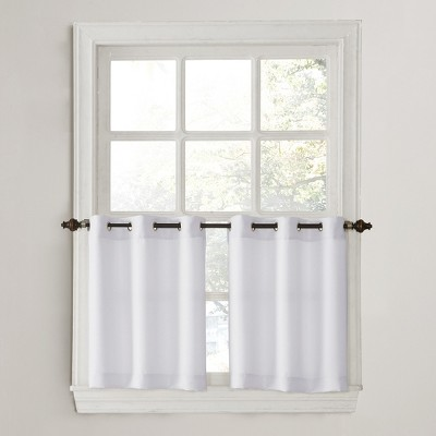 Montego Casual Textured Grommet Kitchen Curtain Tier Pair White 56 x24  - No. 918