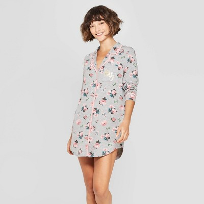 c23c94600ff9 Love and Cherish Women s Floral Print Mrs. Notch Collar Nightgown - Gray