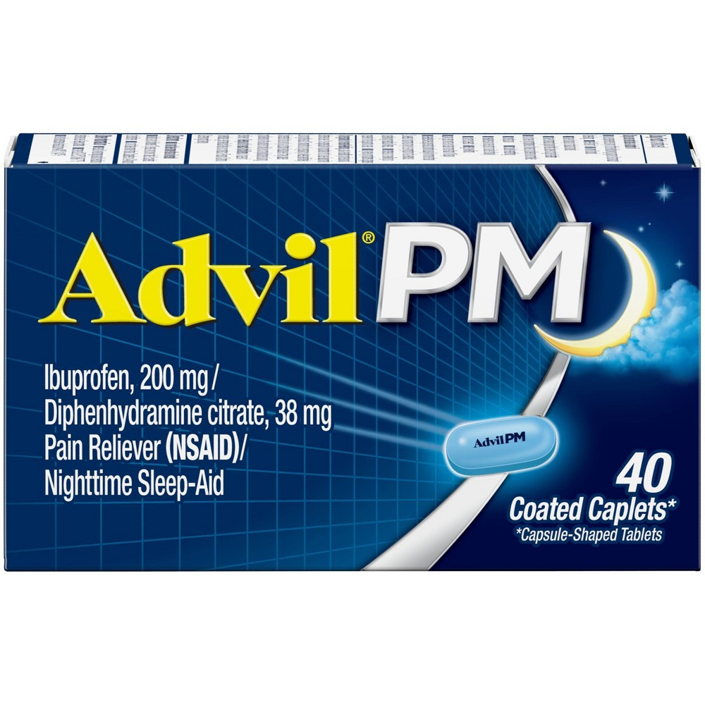 Advil Pm Pain Reliever Nighttime Sleep Aid Caplets Ibuprofen Nsaid 40ct