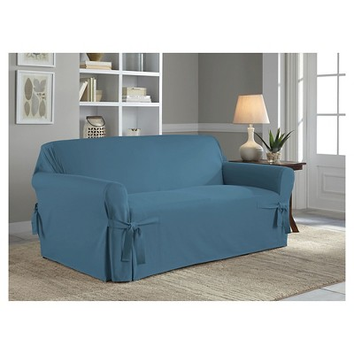 Indigo Relaxed Fit Duck Furniture Loveseat Slipcover - Serta