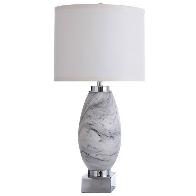St. Austell Swirl Glass Table Lamp with Drum Shade Gray - StyleCraft