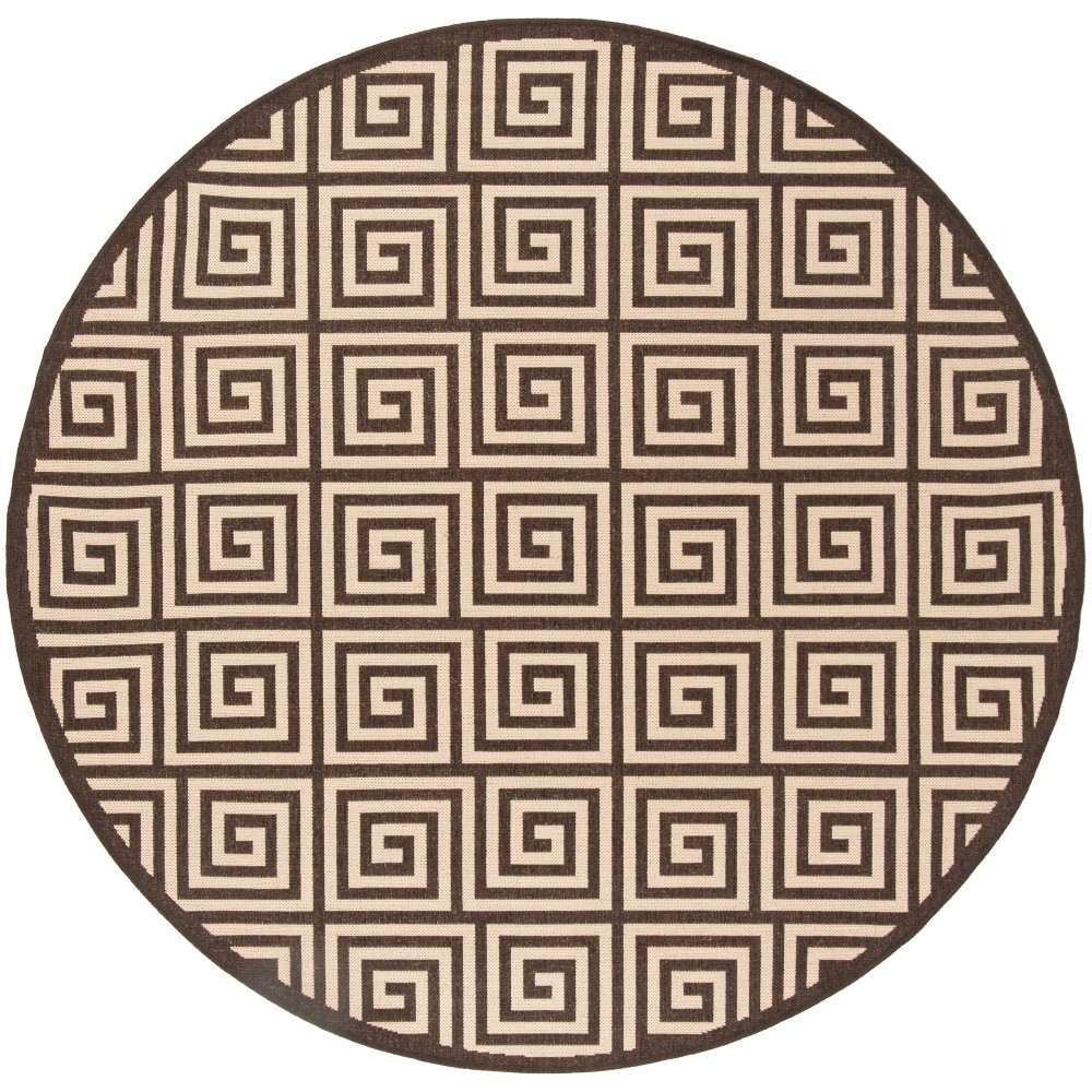 67 Round Geometric Loomed Area Rug Cream/Brown - Safavieh Promos