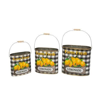 "Gerson International Assorted Metal Nesting ""Farm Fresh Lemonade"" Decorative Buckets, Set of 3."