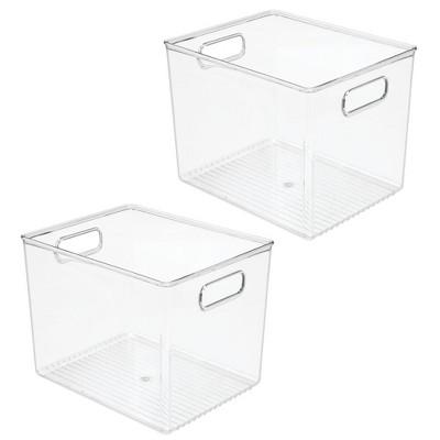 mDesign Plastic Kitchen Food Storage Bin with Handles, 2 Pack