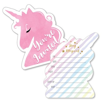 Big Dot of Happiness Rainbow Unicorn - Shaped Fill-in Invites - Magical Unicorn Baby Shower or Birthday Party Invite Cards with Envelopes - Set of 12