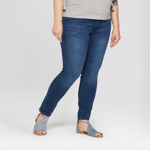 Maternity Plus Size Inset Panel Skinny Jeans - Isabel Maternity by Ingrid & Isabel™ Dark Wash - image 1 of 4