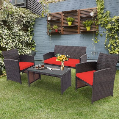 Costway 4PCS Patio Rattan Furniture Set Cushioned Chair Sofa Coffee Table White\Navy\Turquoise\Red