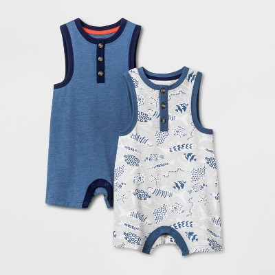 Baby Boys' 2pk Henley Romper Set - Cat & Jack™ Gray 0-3M