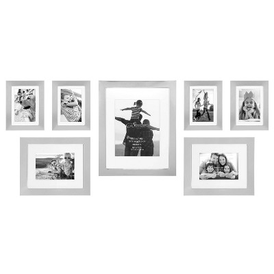 7pc Decorative Stamped Photo Frame Set Silver - Stonebriar Collection
