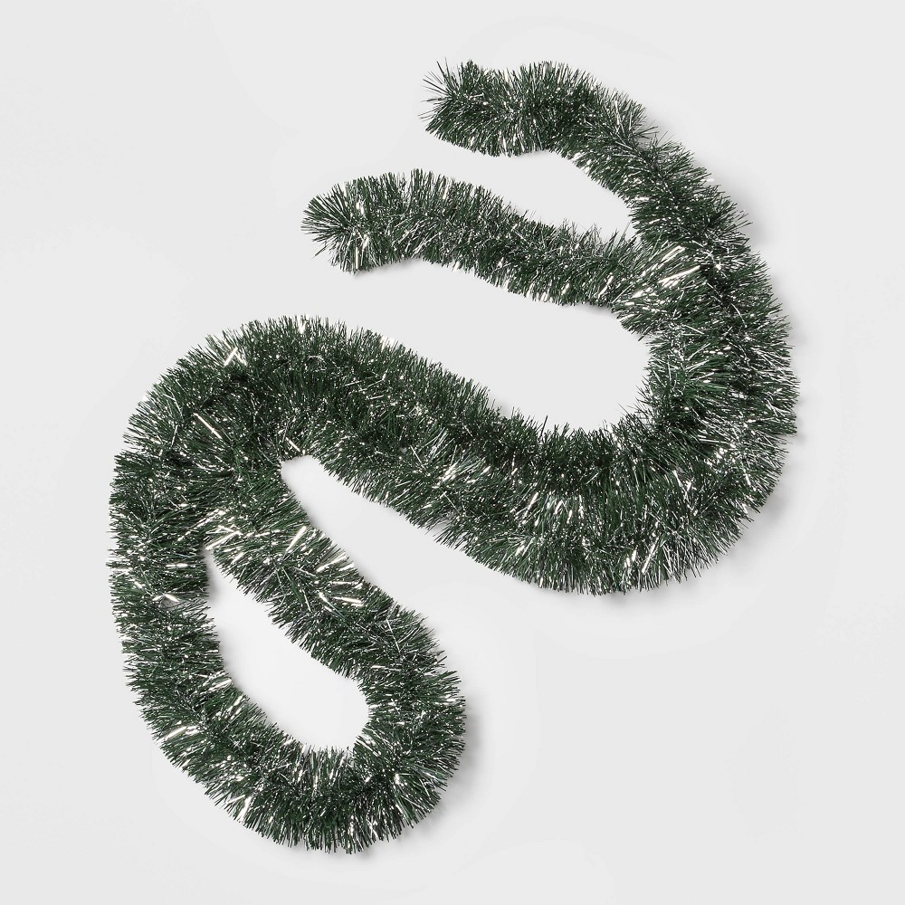 Image of 10ft Thin Needle Christmas Garland Green and Silver - Wondershop , Silver Green