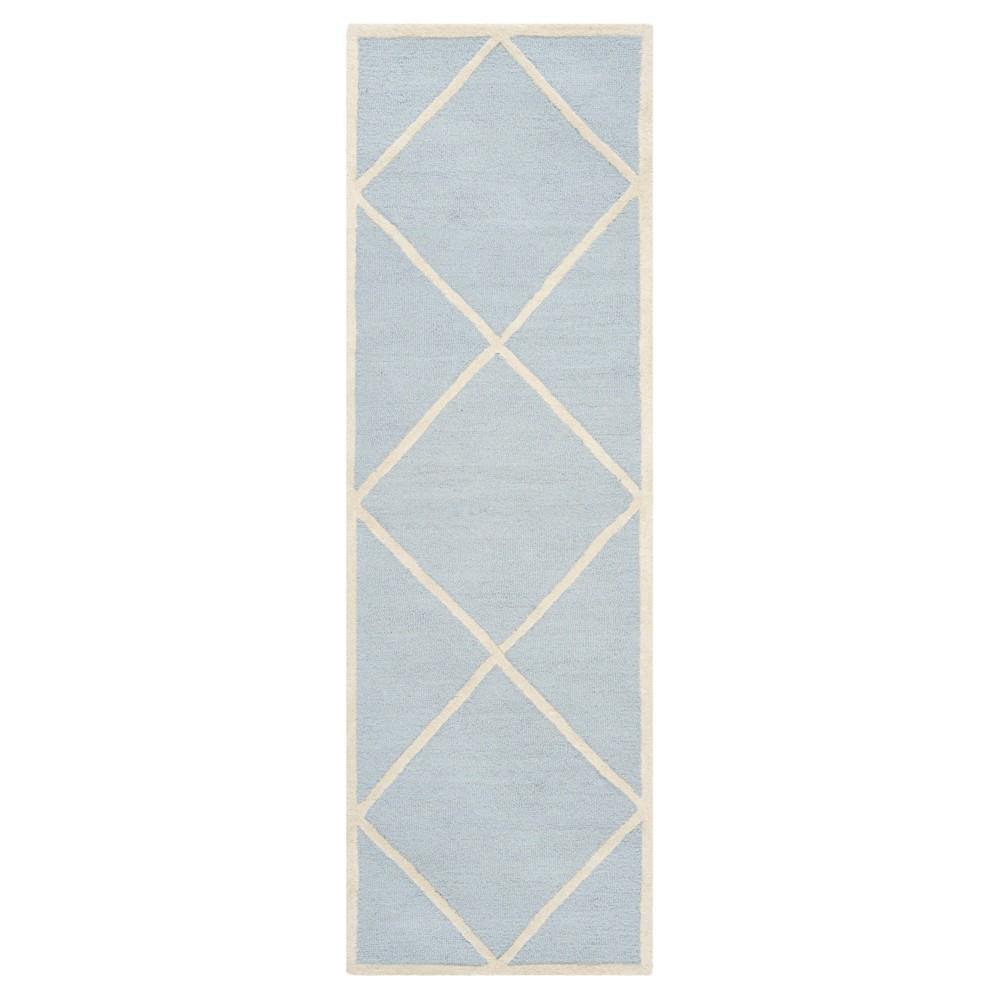 2'6X10' Geometric Runner Light Blue/Ivory - Safavieh