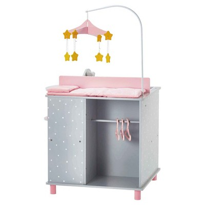Olivia's Little World - Baby Doll Furniture - Baby Changing Station with Storage (Gray Polka Dots)