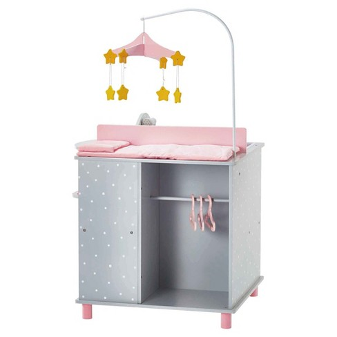 Olivia S Little World Baby Doll Furniture Changing Station With Storage Gray Polka Dots