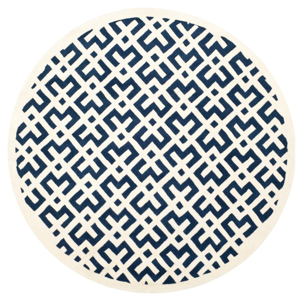 Dark Blue/Ivory Geometric Tufted Round Area Rug 7' - Safavieh