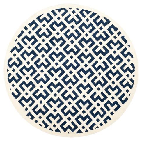 Dark Blue/Ivory Geometric Tufted Round Area Rug 7' - Safavieh - image 1 of 3