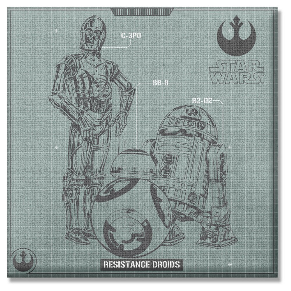 Star Wars EP7 Droid Group 12x12 Unframed Wall Canvas, Gray