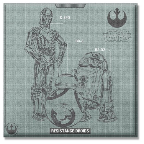 Star Wars EP7 Droid Group 12x12 Unframed Wall Canvas - image 1 of 1