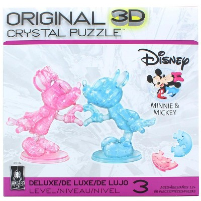 University Games Disney Mickey & Minnie Mouse Heart Hands 68 Piece 3D Crystal Jigsaw Puzzle